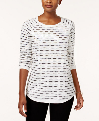 Karen Scott Tuck-Stitch Cotton Sweater, Created for Macy's ...