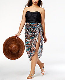 Miraclesuit Plus Size Printed Side-Tie Cover-Up Skirt,Created for Macy's Style