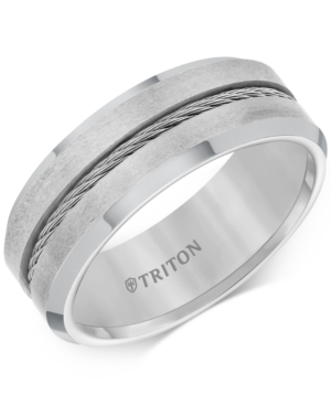 Men's Cable Detail Comfort Fit Band in Tungsten Carbide