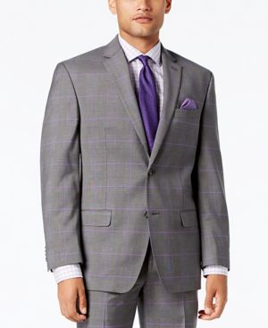 Sean John Men's Classic-Fit Stretch Gray/Purple Windowpane Plaid Suit Jacket thumbnail