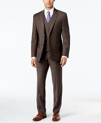 Lauren Ralph Lauren Men's Classic-Fit Ultraflex Brown Plaid Suit ...