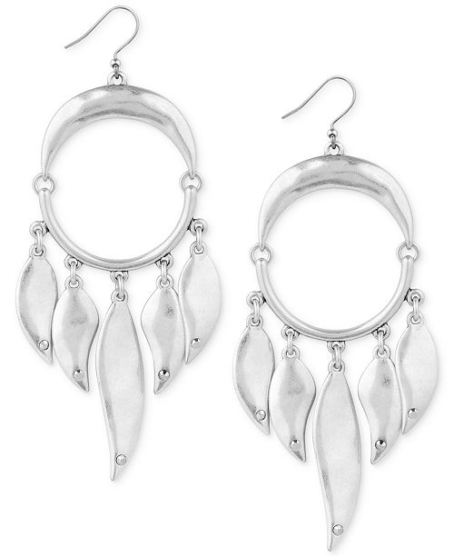 Lucky Brand Silver-Tone Circle & Paddle Drop Earrings