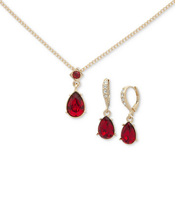 Givenchy gold tone red stone pendant necklace drop earrings set givenchy gold tone red stone pendant necklace drop earrings set fashion jewelry jewelry watches macys aloadofball Images