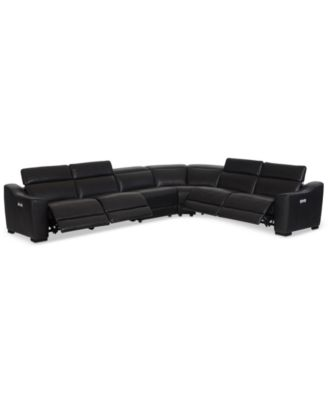 CLOSEOUT! Anniston 6-Pc. Leather Sectional with 4 Power Recliners and USB Power Outlet, Created For Macy's