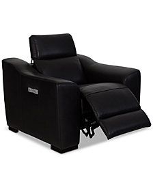 "CLOSEOUT! Anniston 46"" Leather Recliner with USB Power Outlet, Created for Macy's"