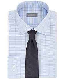 Michael Kors Men's Airsoft Stretch Performance Blue Check Dress Shirt & Pin Dot Melange Tie