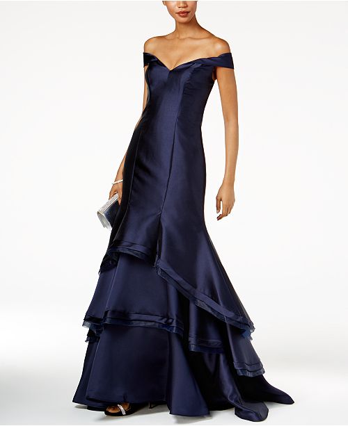 Xscape Ruffled Off The Shoulder Gown Dresses Women