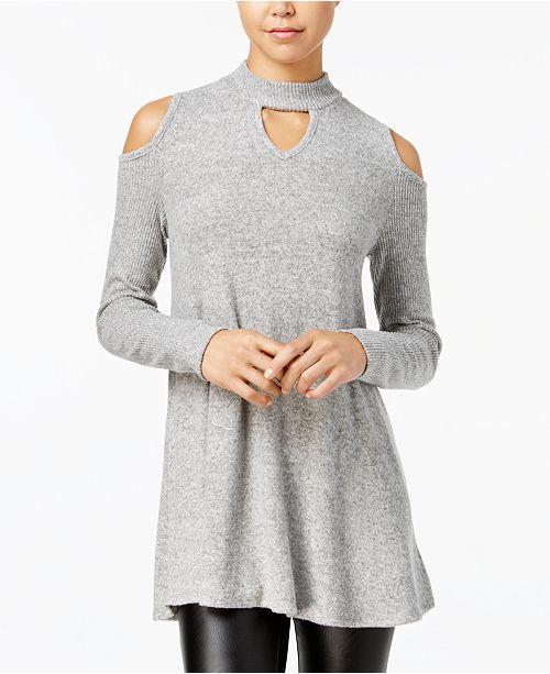 46d32950f3 BCX Juniors  Cold-Shoulder Choker Sweater   Reviews - Sweaters ...