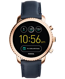 Fossil Q Men's Explorist Gen 3 Navy Leather Strap Touchscreen Smart Watch 46mm