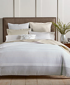 Charter Club Damask Designs Woven Stripe Taupe 300-Thread Count Bedding Collection, Created for Macy's