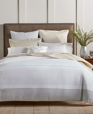 Closeout Woven Stripe Taupe 300 Thread Count Bedding Collection Created For Macy S