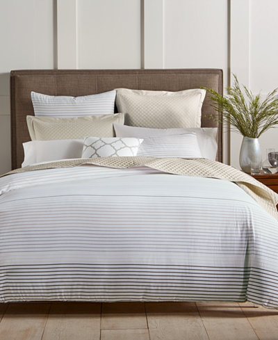 Charter Club Damask Designs Woven Stripe Cotton 300-Thread Count 2-Pc. Twin Duvet Cover Set, Created for Macy's