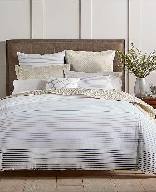 Charter Club Woven Stripe Taupe 300-Thread Count Comforter Sets, Created for Macy's