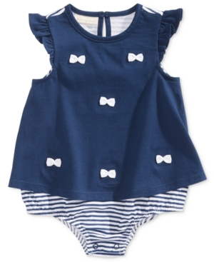 First Impressions Bows  Stripes Cotton Skirted Sunsuit Baby Girls (024 months) Created for Macys