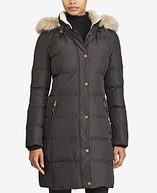 Lauren Ralph Lauren Petite Faux-Fur-Trim Quilted Down Coat, Created For Macy's