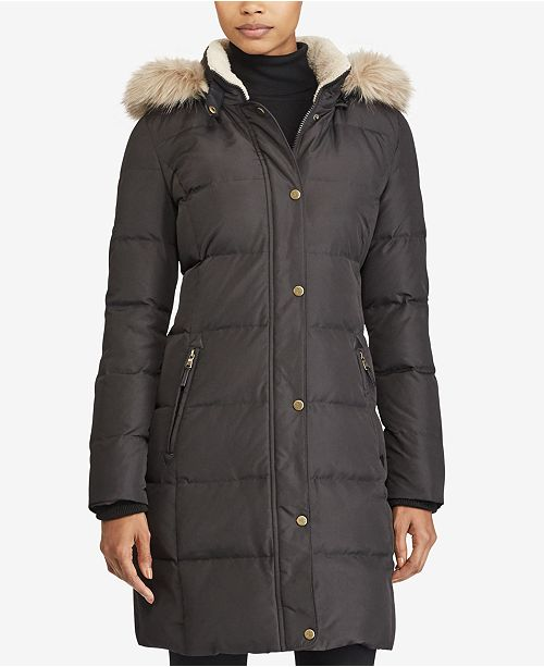 Lauren Ralph Lauren Faux Fur Trim Quilted Puffer Coat