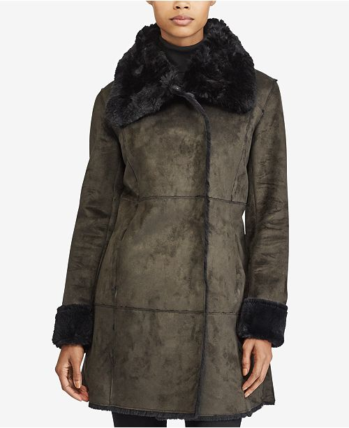 Lauren Ralph Lauren Faux-Shearling Envelope-Collar Coat -9841