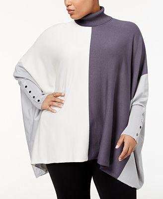 Alfani Plus Size Turtleneck Colorblocked Sweater, Created for Macy's