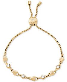 Michael Kors Crystal & Heart Link Slider Bracelet