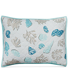 Martha Stewart Collection Beach Finds Reversible  100% Cotton Quilted Standard Sham, Created for Macy's