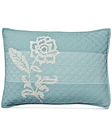 CLOSEOUT! Martha Stewart Collection Gardenia Cotton Stripe Crewelwork Quilted Standard Sham, Created for Macy's