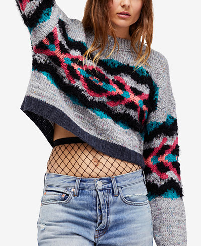 Free People I Heart You Cropped Sweater - Juniors Sweaters - Macy's