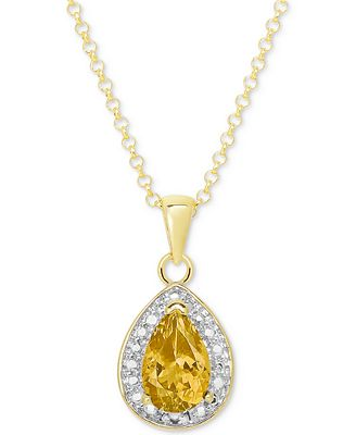 Citrine (7/8 ct. t.w.) and Diamond Accent Teardrop Pendant Necklace in 14k Gold-Plated Sterling Silver