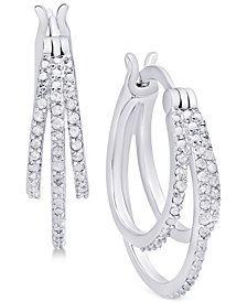Diamond Triple Hoop Earrings (1/10 ct. t.w.) in Sterling Silver