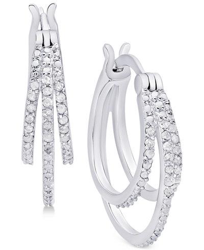 Diamond Triple Hoop Earrings (1/10 ct. t.w.) in Sterling Silver