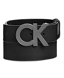 Calvin Klein Men's Matte Leather Casual Logo Belt