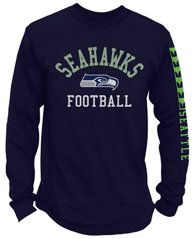 Authentic NFL Apparel Men's Seattle Seahawks Spread Formation Long Sleeve T-Shirt