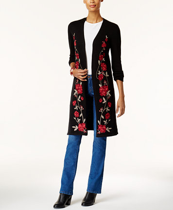 Style & Co Floral-Embroidered Duster Cardigan, Created for Macy's ...