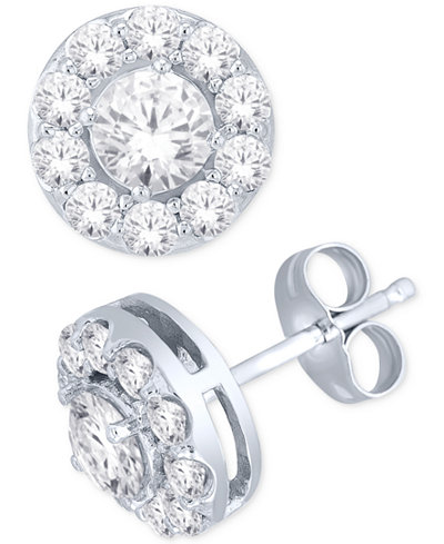 Diamond Round Halo Stud Earrings in 14k White Gold (1 ct. t.w.)