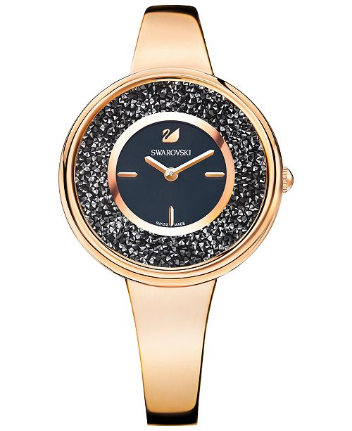 Swarovski Women's Swiss Crystalline Pure Rose Gold-Tone Stainless Steel Bangle Bracelet Watch 34mm