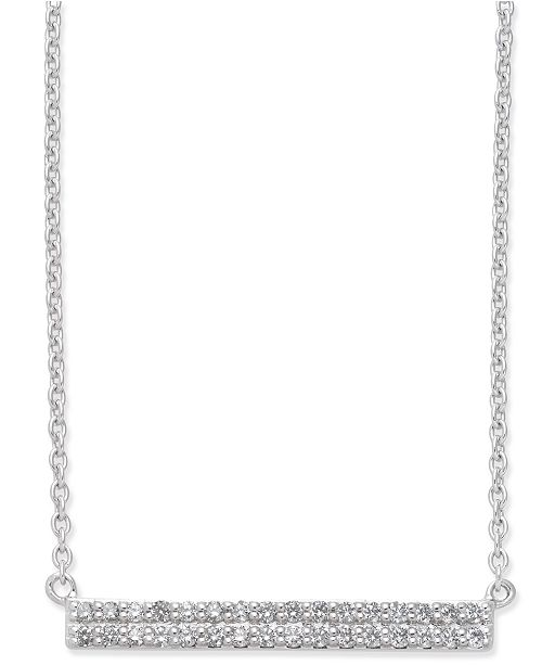 Macy's Diamond Horizontal Bar Pendant Necklace (1/5 ct. t.w.) in 14k White Gold