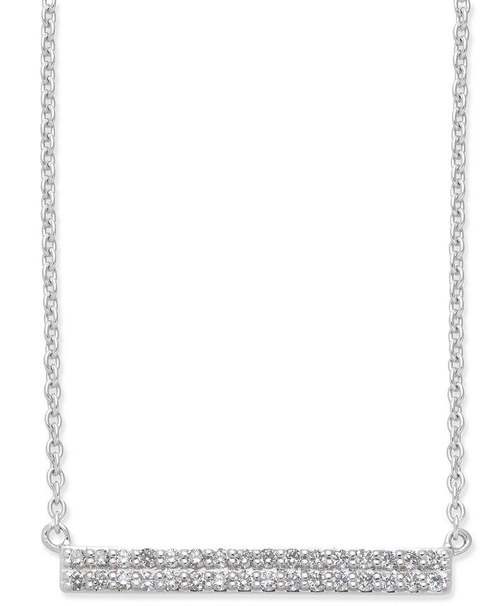 Macy's - Diamond Horizontal Bar Pendant Necklace (1/5 ct. t.w.) in 14k White Gold