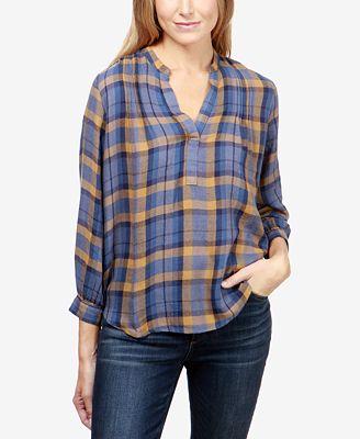 Lucky Brand Plaid Pullover Shirt - Tops - Women - Macy's