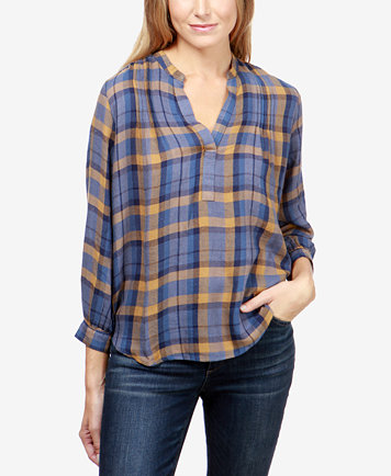 Lucky Brand Plaid Pullover Shirt - Tops - Women - Macy's