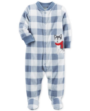 Carters 1Pc Plaid Dog Footed Fleece Coverall Baby Boys (024 months)