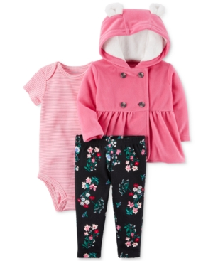 Carters 3Pc Hooded Jacket Bodysuit  Leggings Set Baby Girls (024 months)