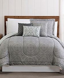 Calista 12-Pc. Medallion-Print Queen Comforter Set