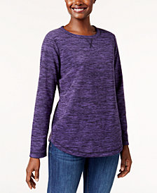 Karen Scott Microfleece Spacedye Crew-Neck Sweatshirt, Created for Macy's