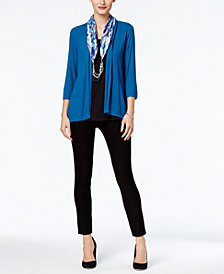 NY Collection Layered-Look Top & ECI Pull-On Straight-Leg Pants