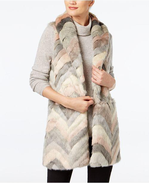 Chevron Patchwork Faux-Fur Vest
