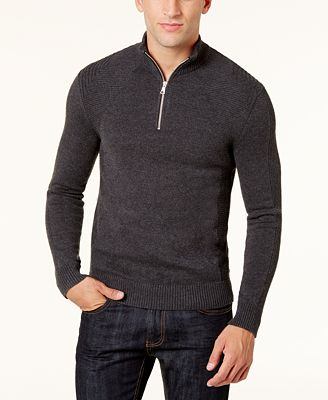 INC International Concepts Men's Quarter-Zip Sweater, Created for ...