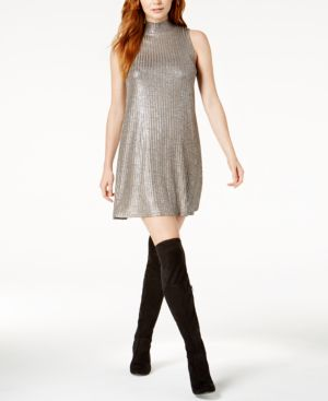 KENSIE METALLIC SHIFT DRESS
