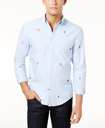 Image 1 of Tommy Hilfiger Men's Atherton Embroidered Camp Oxford Shirt