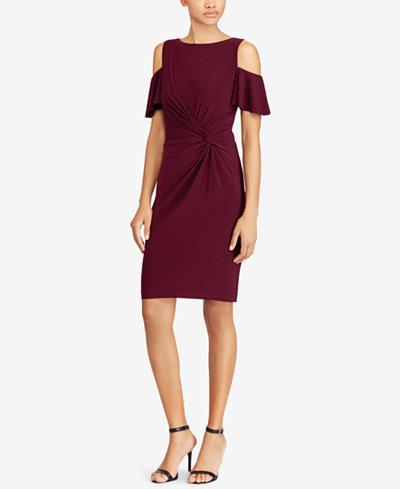 Lauren Ralph Lauren Cold-Shoulder Flutter-Sleeve Dress