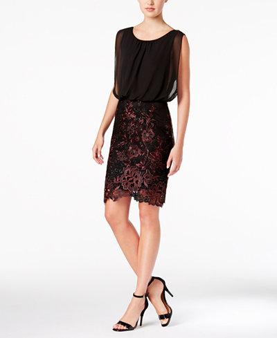 Calvin Klein Chiffon Embroidered Blouson Dress