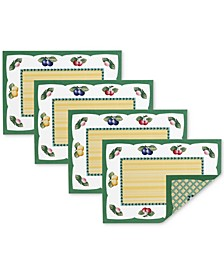 French Garden 4-Pc. Reversible Placemat Set